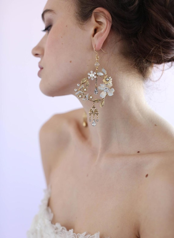 6a012a463 Bridal earrings Dramatic garden earrings Style 629 Made | Etsy