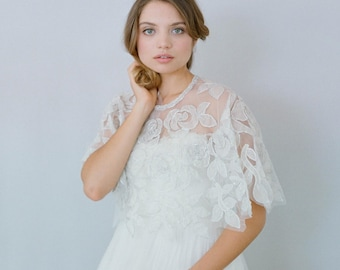 Bridal cape - Silk and beaded circle rose cape - Style 634 - Ready to Ship