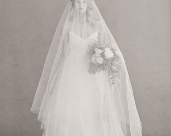 Bridal cathedral veil - Wide cathedral veil with extra long blusher - Style 668 - Ready to Ship