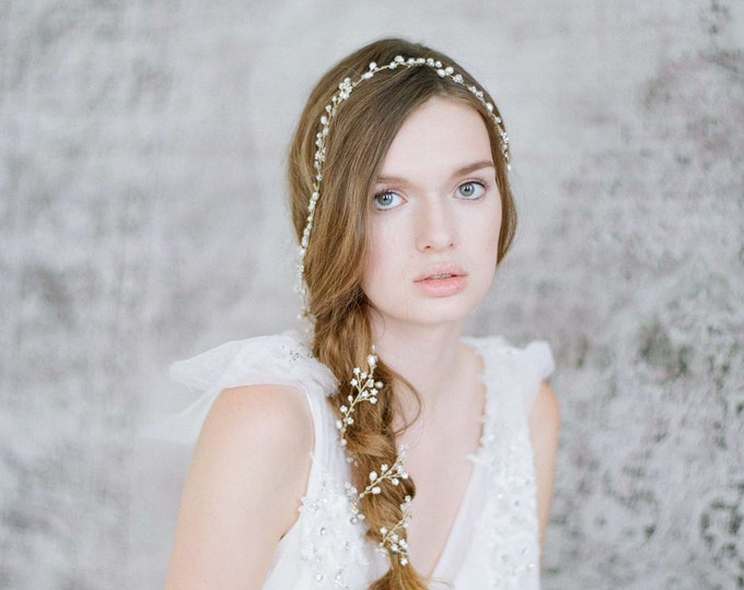 Bridal hair vine - Extra long petite blossom hair vine - Style 703 - Made to Order