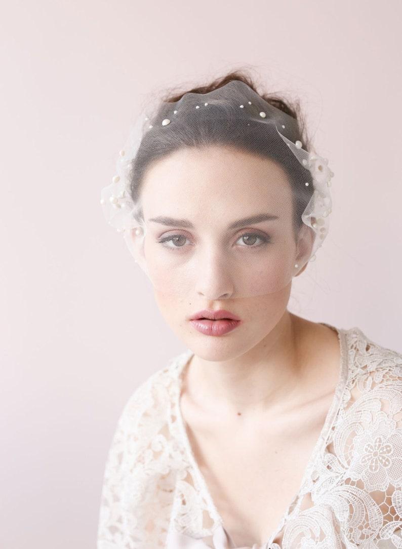 Style 427 Ready to Ship tulle mini veil Bridal bandeau pearl veil Pearl adorned tulle bandeau veil