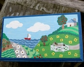 Decorative Landscape Jewelry Box, Painted Jewelry Box, Scenic Keepsake Box, Horse and Sailboat On A Jewelry Box, Rectangle Wooden Case
