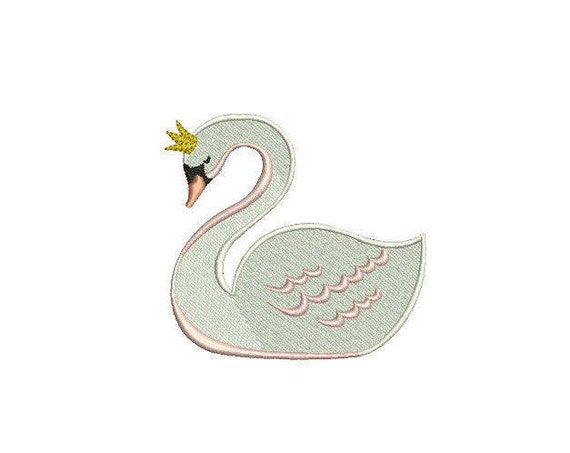 Swan Embroidery - Simple 10cm Swan Machine Embroidery File design 4x4 inch or 10cm x 10cm hoop - instant download