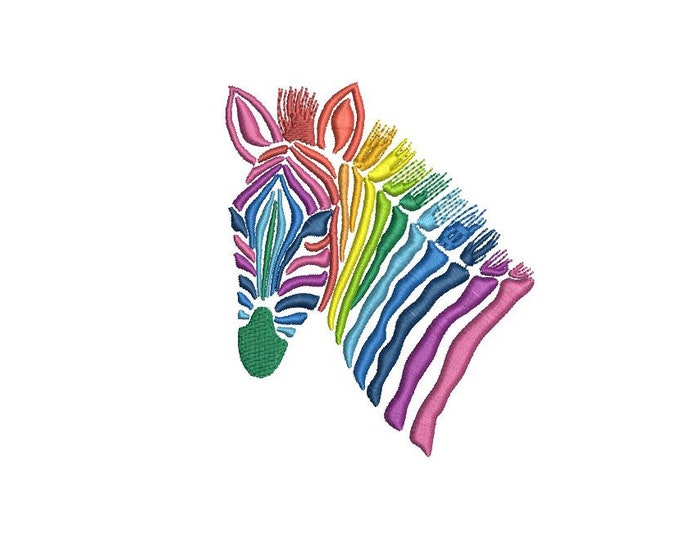 Rainbow Zebra Head Face Urban Modern Machine Embroidery File design 4x4 inch hoop