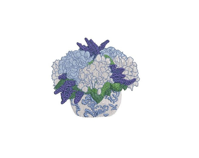 Chinoiserie Hydrangeas Embroidery - Hamptons Pot Plant - Machine Embroidery File design - 4 x 4 inch hoop - Instant Download