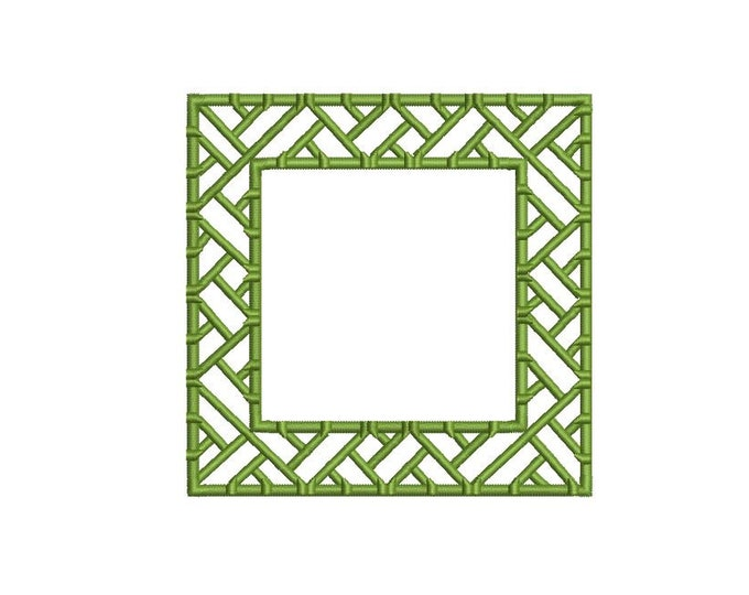 Chinoiserie Chic Monogram Bamboo Square Frame Machine Embroidery File design 4x4 hoop