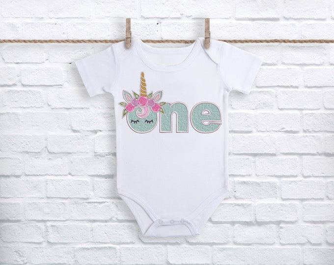 ONE Unicorn word First Birthday-  Machine Embroidery File design - 5x7 hoop - embroidery design