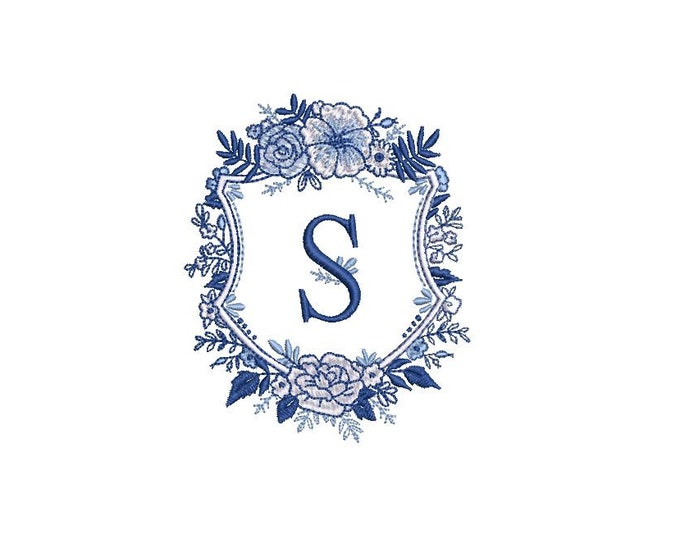 Blue & White Flower Crest Machine Embroidery File design 4x4 inch hoop - Monogram Frame