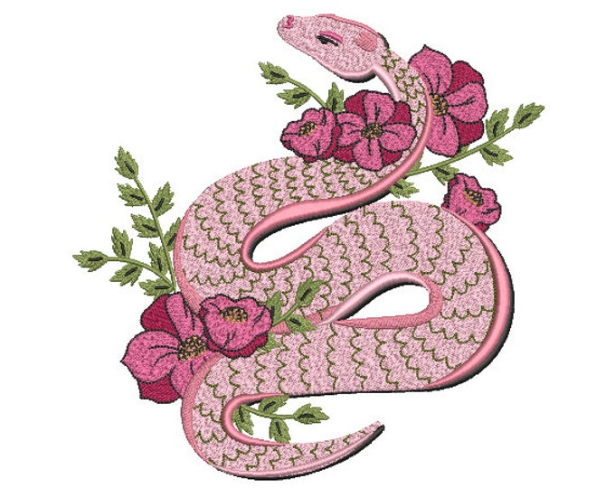 Pink Snake Flowers Embroidery Design -  Urban Machine Embroidery File design - 8x8 inch hoop - instant download