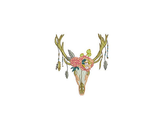 Antlers Roses Bohemian Machine Embroidery File design 4x4 inch hoop Flower Antlers