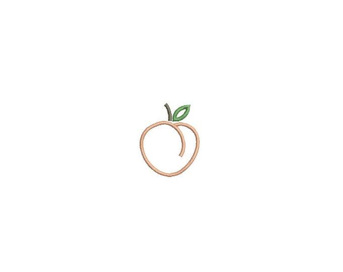 Machine Embroidery Peach Outline Mini 4cm Embroidery File design - 4x4 hoop