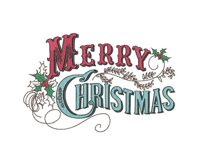 Merry Christmas Embroidery - Machine Embroidery File design  - 5x7 inch hoop - Xmas Embroidery