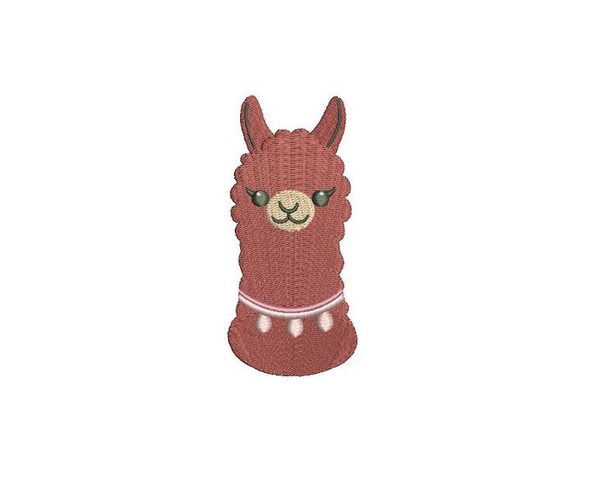 Llama Face 3 Alpaca Machine Embroidery File design 4x4 inch hoop