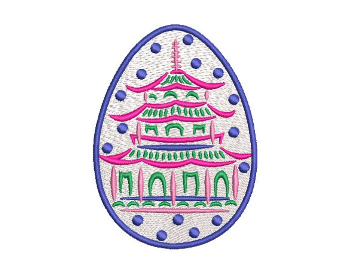Painted Pagoda Easter Egg - Machine Embroidery File design - 4 x 4 inch hoop - instant download - Chinoiserie Embroidery