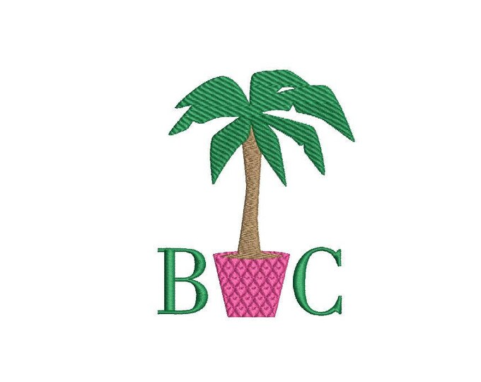 Potted Palm Tree Machine Embroidery File design - 4 x 4 inch hoop - Palm Silhouette