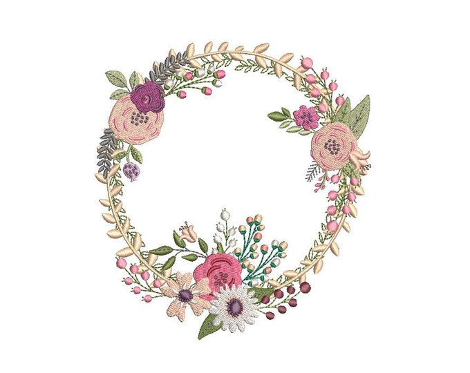 Pink Boho Wreath Embroidery -  Wreath Machine Embroidery File design - 5x7 inch hoop - instant download