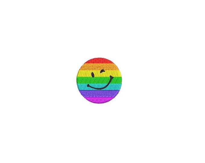 Rainbow Winking Smiley Embroidery Mini 4cm Embroidery File design 4x4 hoop