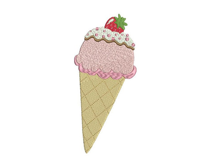 Kawaii Strawberry Ice cream Cone Machine Embroidery File design 5x7 inch hoop instant download