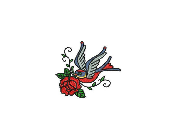 Rose & Swallow Bird Tattoo Retro Machine Embroidery File design 4 x 4 inch hoop
