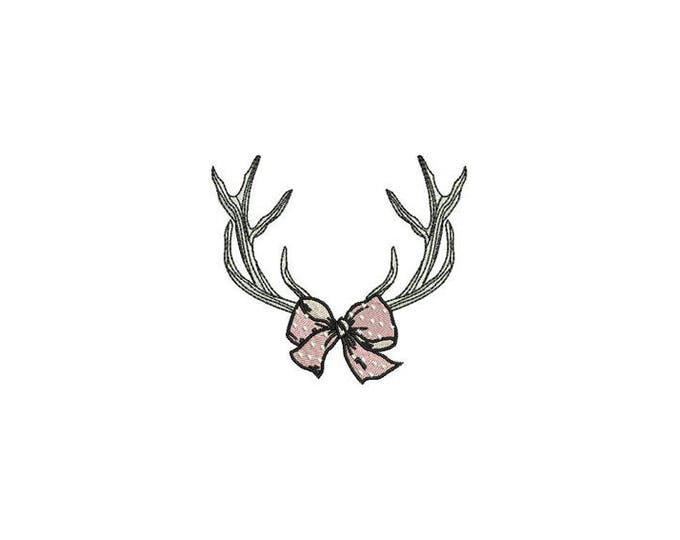 Antlers With Bow - Machine Embroidery File design - 4x4 inch hoop