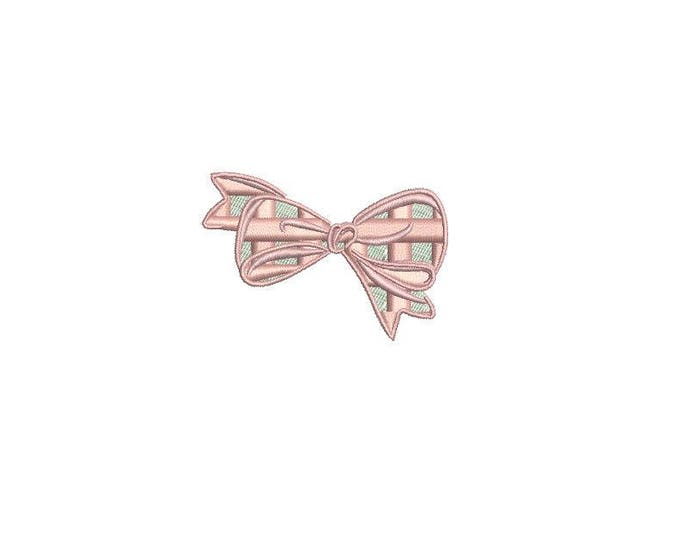 Mini Gingham Bow Machine Embroidery File design - 4 x 4 inch hoop - 6cm