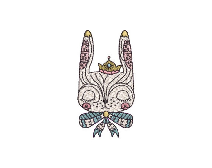 Machine Embroidery - Bunny Princess - Embroidery File design - 4x4 inch hoop - Rabbit Embroidery