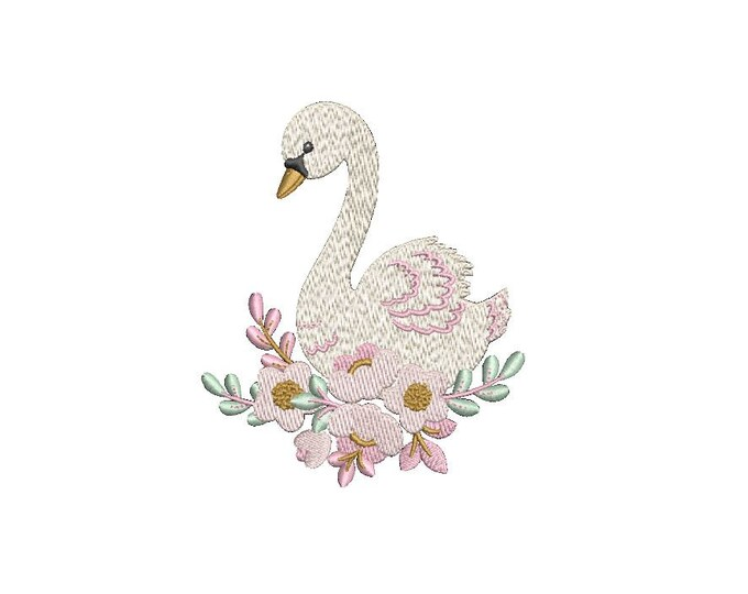 Pink Swan with flowers Machine Embroidery File design 4x4 hoop