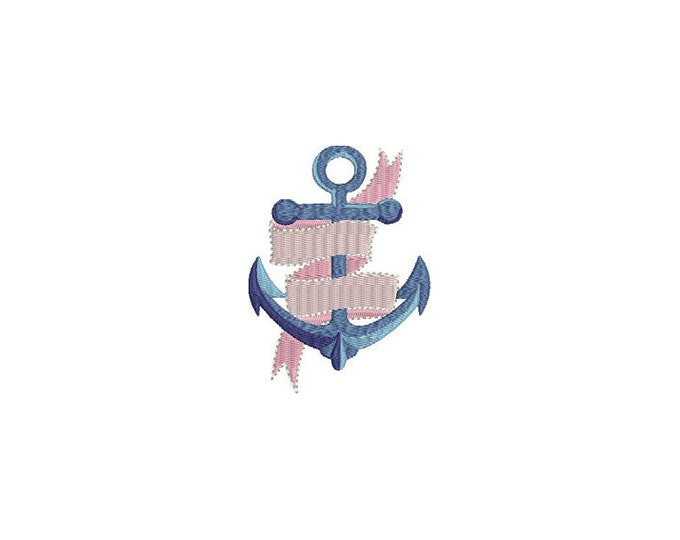 Small Anchor Banner Machine Embroidery File design 4x4 inch hoop - instant download