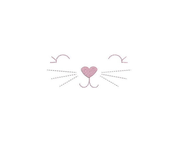Easy In The Hoop Hand stitched Look Kitty Face Small Machine Embroidery File design 5x7 inch ITH instant download