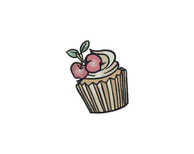 Cherry Cupcake Machine Embroidery File design 4x4 inch hoop - Retro Cupcake Tattoo
