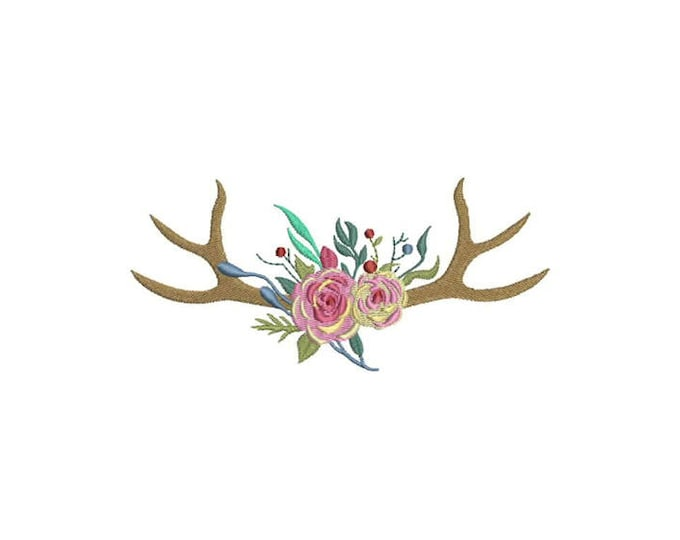 Boho Rose Antlers Bohemian Machine Embroidery File design 6x10 inch hoop Flower Antlers