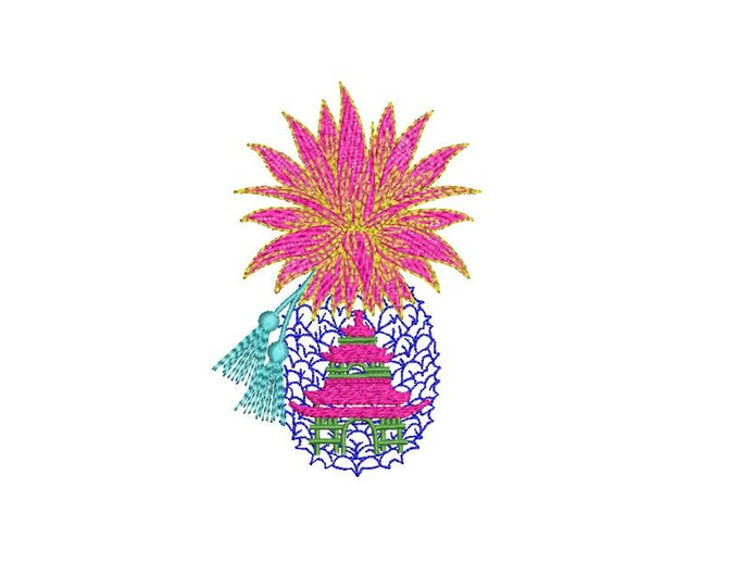 Chinoiserie Pagoda Pineapple Embroidery - Machine  Embroidery File design - 4x4 hoop