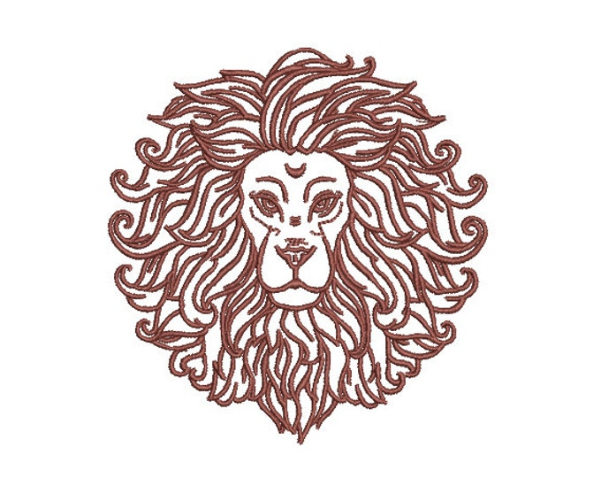 Lion Art Embroidery - Urban Modern Lion Machine Embroidery File design - 4x4 inch hoop