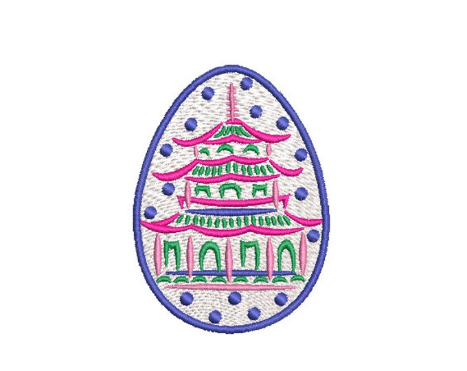 Small Painted Pagoda Easter Egg - Machine Embroidery File design - 4 x 4 inch hoop - instant download - Chinoiserie Embroidery