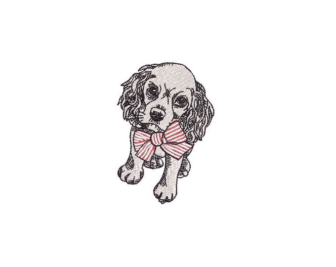 Little Cocker Spaniel Dog   - Machine Embroidery File design  - 4x4 hoop - Dog with bow embroidery