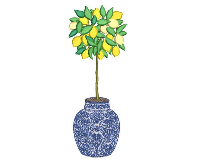 Chinoiserie Lemon Tree - Hamptons Pot Plant - Machine Embroidery File design -5 x 7 inch hoop - Instant Download