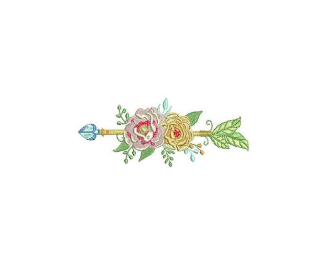 Boho  Flower Arrow Machine Embroidery File design 5x7 inch hoop