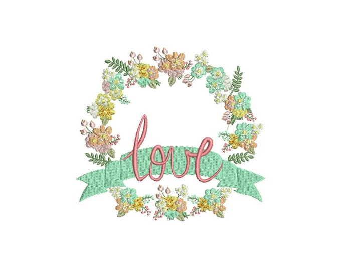 LOVE Flower Wreath Machine Embroidery File design 6x10 inch or 16x26cm hoop