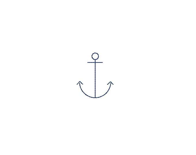 Mini Line Anchor Embroidery - 4 cm Machine Embroidery File design - 4 x 4 inch hoop - Anchor Silhouette