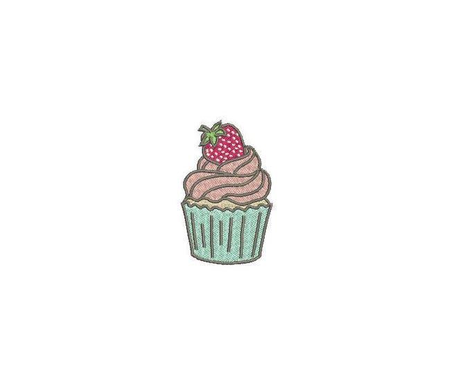 Strawberry Cupcake Machine Embroidery File design 4x4 inch hoop - Mini Cupcake