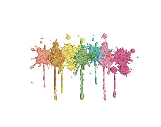 Pastel Paint Splatter Machine Embroidery File design - 6x10 inch hoop - Instant Download