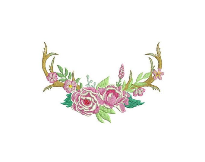 Boho Floral Open Antlers Bohemian Machine Embroidery File design 6x10 inch hoop Flower Antlers