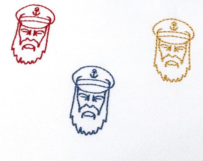 Bearded Sailor Mini Machine Embroidery File design - 4 x 4 inch hoop - Silhouette
