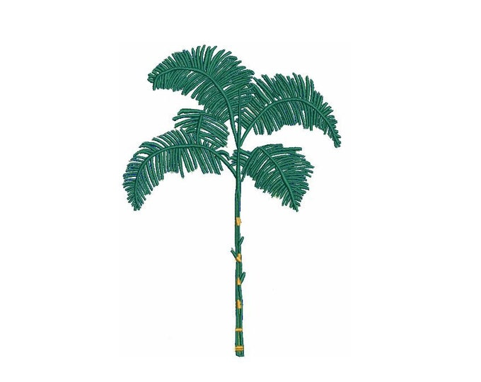 Sketched Palm Tree Machine Embroidery File design - 5 x 7 inch hoop - Palm Silhouette - Monogram Embroidery