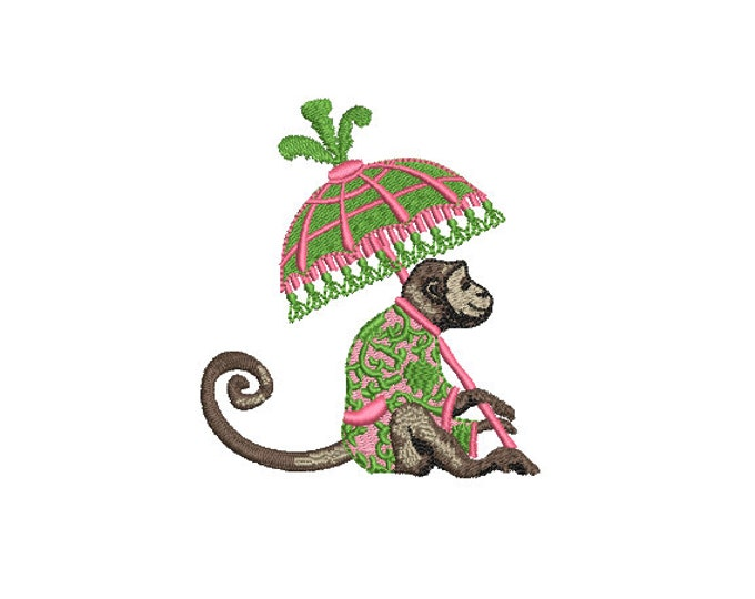 Parasol Monkey Machine Embroidery File design - 4x4 inch hoop - Chinoiserie Chic - Instant Download