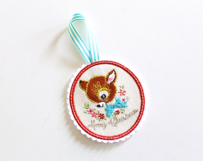 ITH In The Hoop Vintage Deer Ornament Christmas Decoration 4 x 4 Machine Embroidery File design