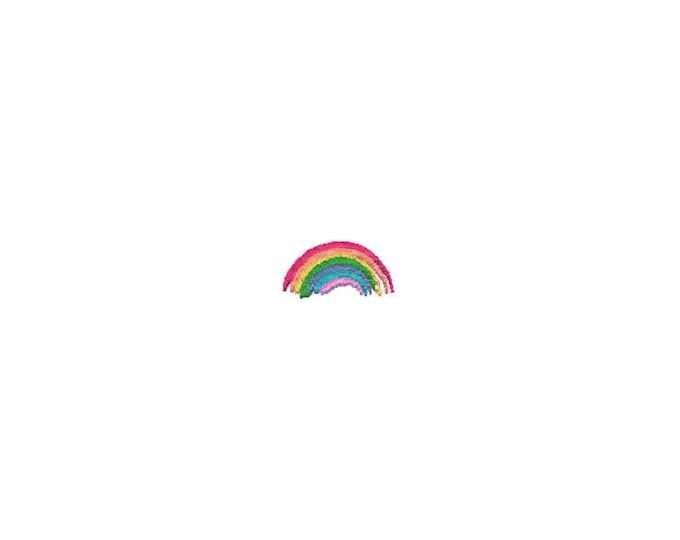 Mini Painted Rainbow Machine Embroidery File design - 4 x 4 inch hoop  - instant download - 3cm