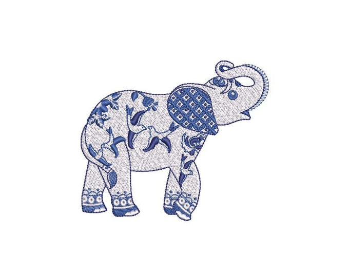 Chinoiserie Chic Blue Willow Elephant - Machine Embroidery File design 4x4 hoop - instant download