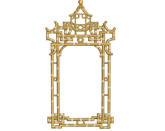 Chinoiserie Chic Monogram Golden Pagoda Frame - Machine Embroidery File design - 5x7 hoop