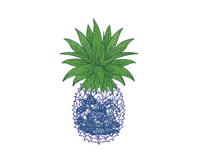 Chinoiserie Pineapple Embroidery - Machine Embroidery Tropical Summer Pineapple Embroidery File design 5x7 hoop